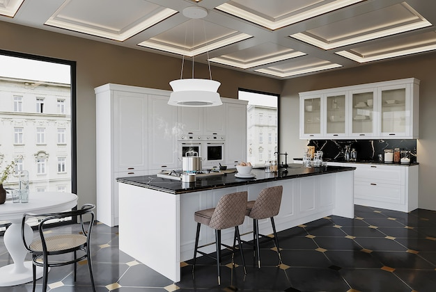 Modern kitchen with kitchen cabinet and ceiling design
