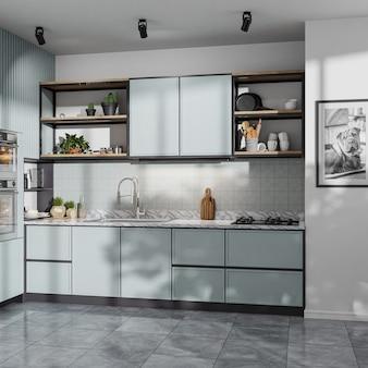 Современная кухня с голубыми шкафами