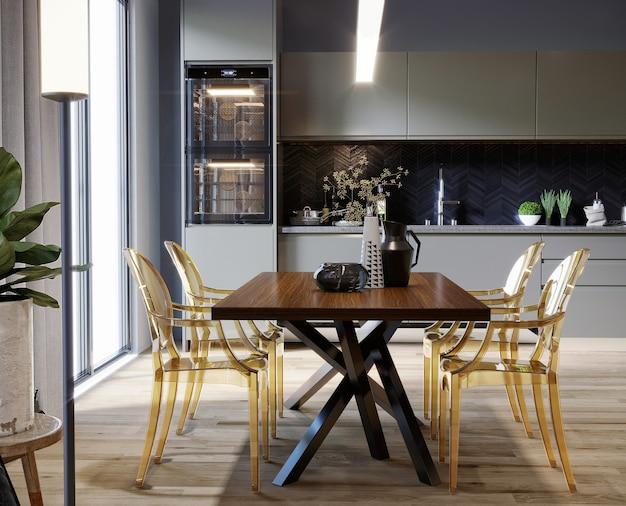 테이블과 노란색의 자 현대 부엌 3d 렌더링