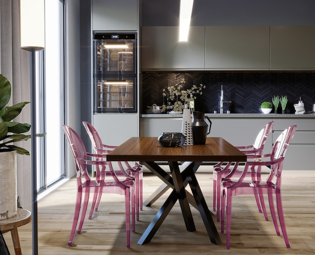 Modern kitchen with table and purple chairs 3d render