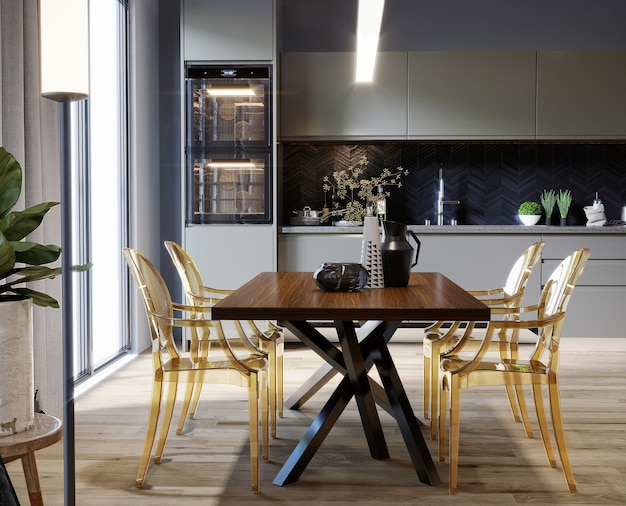 Modern kitchen with table and yellow chairs 3d render