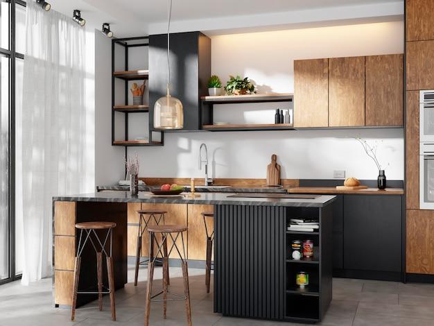 나무 캐비닛과 펜던트 램프가있는 현대적인 주방, 미니멀리스트 디자인