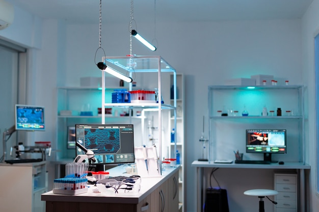 Modern laboratory for scientific research with professional equipment for studying virus