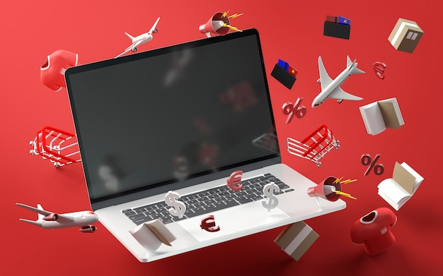 Modern laptop for black friday sale event