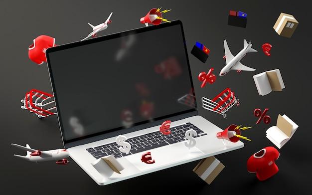 Computer portatile moderno per la vendita del venerdì nero