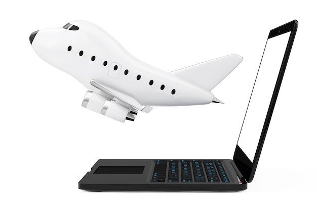 Modern laptop computer with cartoon toy jet airplane flying out from screen on a white background. 3d rendering.