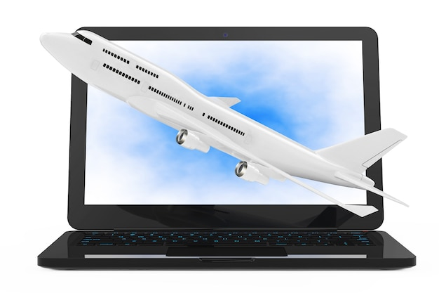 Modern laptop computer with white jet passenger's airplane flying out from screen on a white background. 3d rendering.