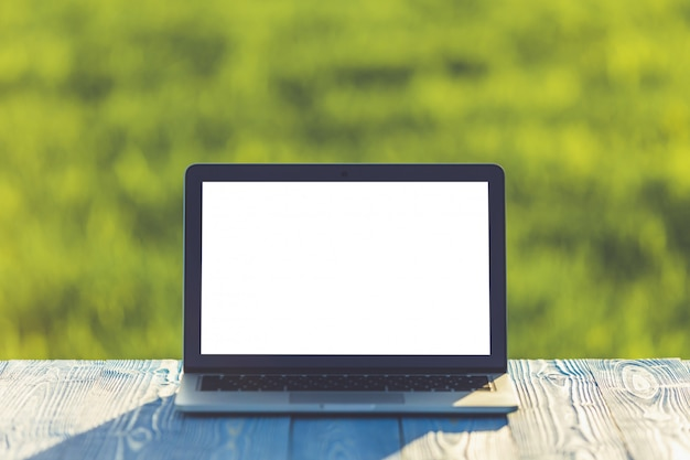 Modern laptop computer on wooden table and view of green field