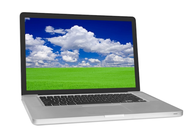 Современный ноутбук, изолированные на белом фоне.