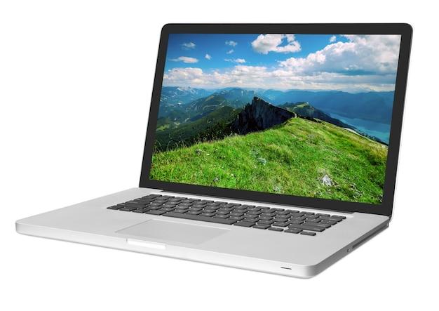 흰색 표면에 고립 된 현대 노트북