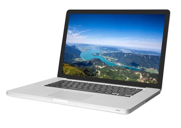 그림자와 함께 흰색 절연 현대 노트북