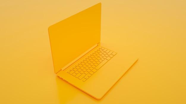 Современный ноутбук на желтом фоне