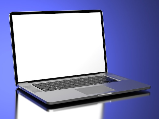 青い背景に空白の画面を持つ現代のラップトップ