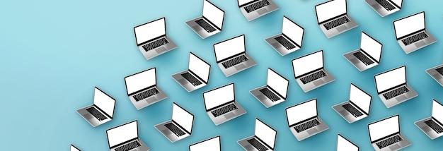 Современные ноутбуки на синем фоне. 3d иллюстрации.