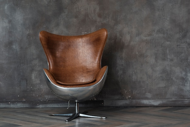 Modern leather armchair in studio