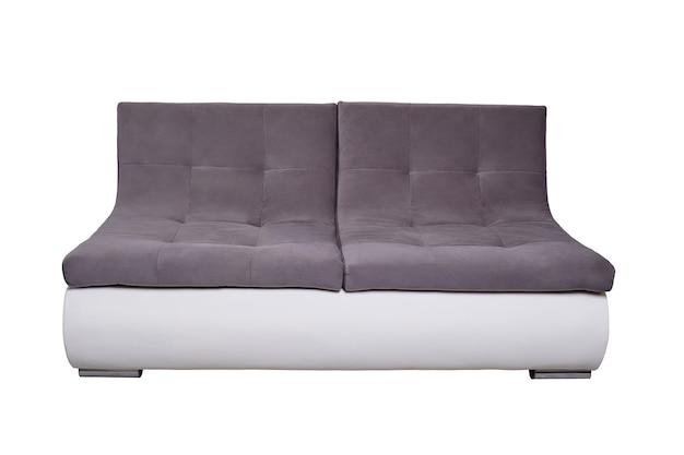 灰色の布製クッションが分離されたモダンな革張りのソファ、正面図。現代的なソファ、最小限のスタイルの家具、インテリア、ホームデザイン