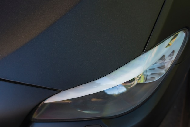 Modern led headlight of black auto