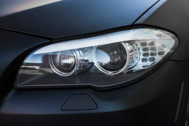 Modern led headlight of dark car