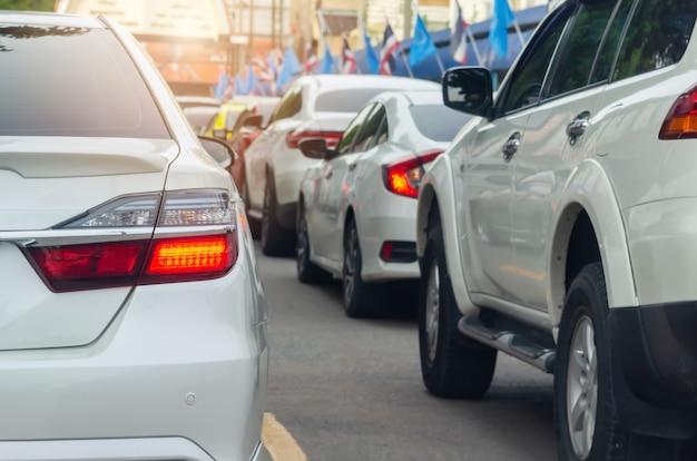 Modern led tail lights, white car