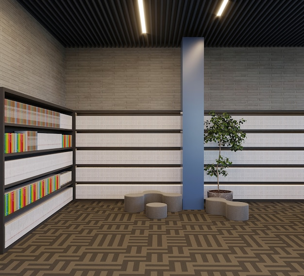 Modern library with bookshelf design and plants, 3d render