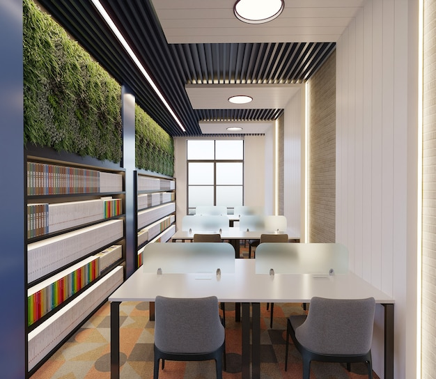 Modern library with ceiling design, bookshelf design, plants and study desk, 3d render
