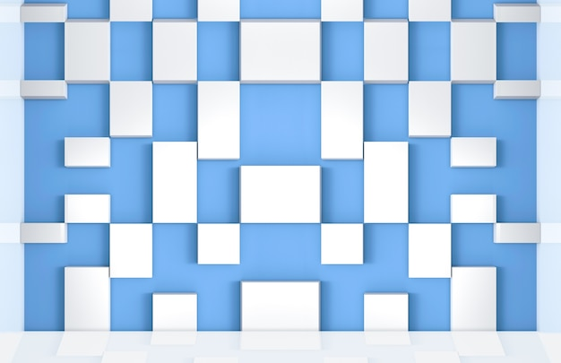 Modern light blue wall and white random cube pattern background.