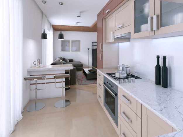 Modern light kitchen in scandinavian style. 3d rendering