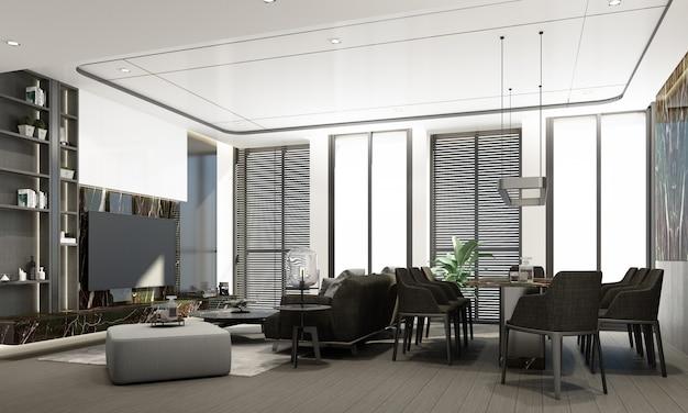 Современная гостиная и столовая с мраморной текстурой и дизайном интерьера в серых тонах, 3d-рендеринг