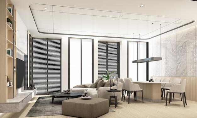 Современная гостиная и столовая с деревянной текстурой и дизайном интерьера в белых тонах, 3d-рендеринг
