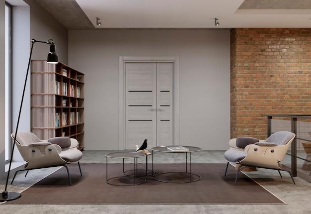 モダンなリビングルームと本棚、本のある図書室の家具。 3dレンダリング