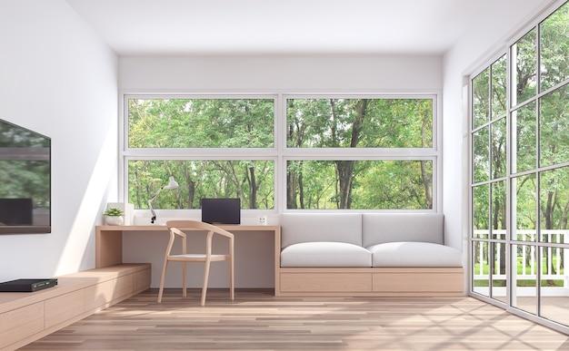 Современная гостиная и рабочий уголок с видом на природу в 3d-рендере украшены деревянной мебелью
