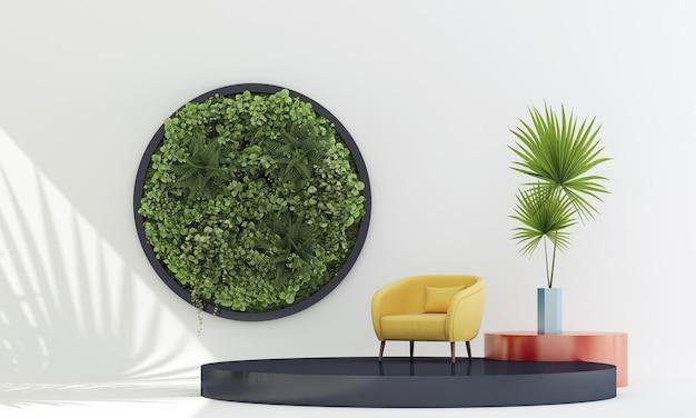 モダンなリビングルームと黄色の椅子と白い背景の上のディスプレイ表彰台に植物