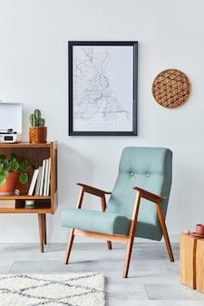 デザイン家具のモックアップポスターフレームとアクセサリーテンプレートを備えたモダンなリビングルームの構成