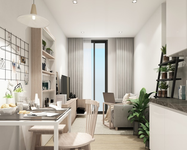 Modern living room in condominium with modern contemporary style interior 3d rendering