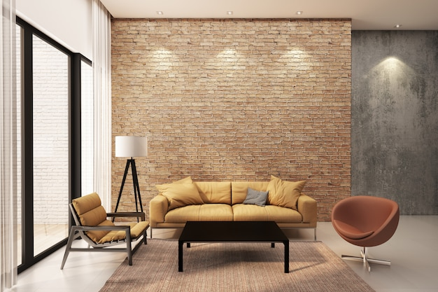 Modern living room decorate wall with orange brick wall