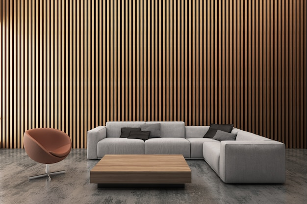Modern living room decorate wall with vertical wood pattern. 3d rendering