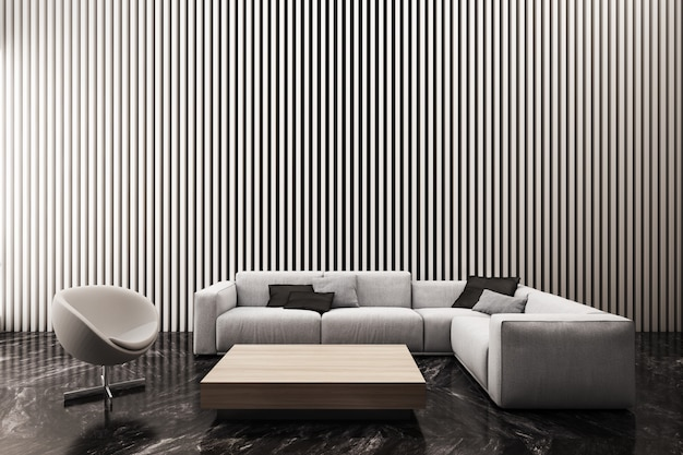 Modern living room decorate wall with white vertical battens pattern