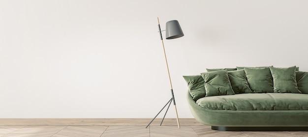 Modern living room design, green sofa and wooden floor lamp
