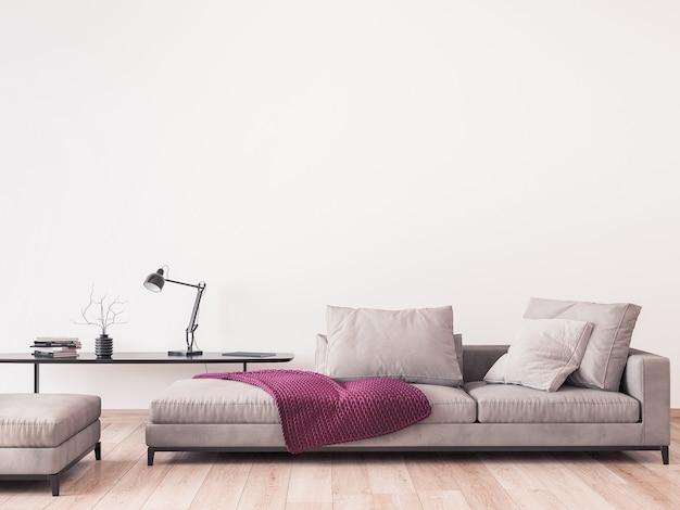 モダンなリビングルームのデザイン、白い壁に最小限の家具