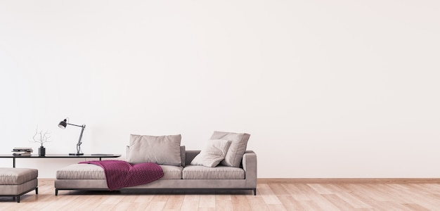 Modern living room design, minimal furniture on white wall, panorama