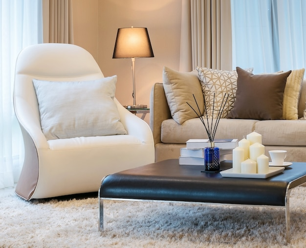 Modern living room design with sofa and brown pillows