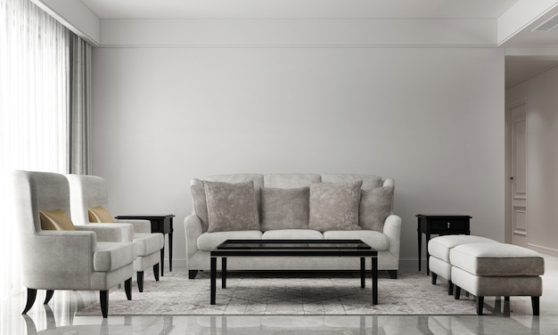 Modern living room and empty white wall texture background interior design