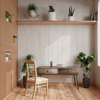 Modern living room has white concrete walls, decorated with plants on the shelves. the sides were wooden walls and there were tables and chairs on the lower floor.3d rendering.