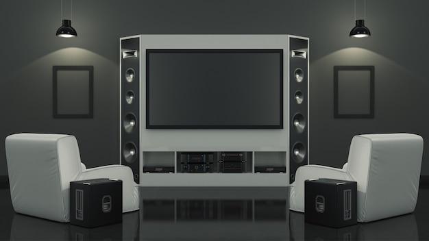 Домашний кинотеатр в современной гостиной