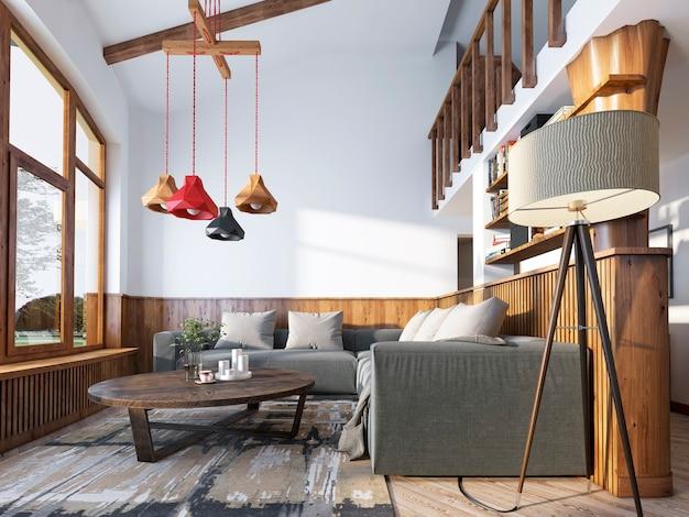 코너 소파와 목재 패널이있는 벽이있는 로프트 스타일의 현대 거실