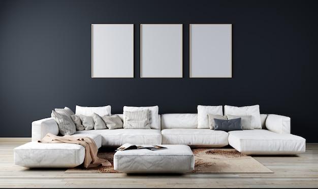 현대 거실 인테리어 배경, 어두운 벽, 스칸디나비아 스타일, 3d 일러스트 레이 션. 3d 렌더링