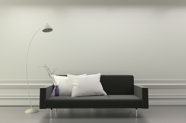 Modern living room interior - black sofa and white pillows and lamp. 3d rendering