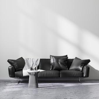 현대적인 거실 내부, 콘크리트 바닥과 흰색 벽이 있는 밝은 방에 금속 커피 테이블이 있는 검은색 소파, 빈 벽 조롱, 3d 렌더링