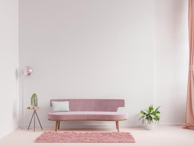 현대 거실 인테리어 디자인 핑크 소파와 안락의 자 빈 흰색 벽 배경, 3d 렌더링
