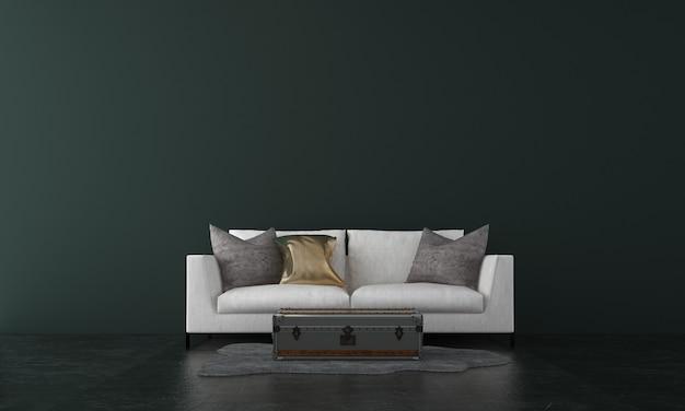 Современный дизайн интерьера гостиной и темно-зеленая текстура стены